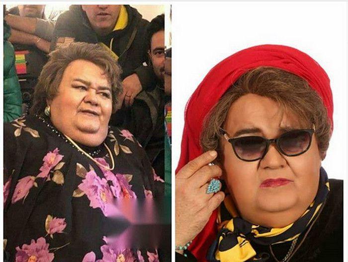 عکس اکبر عبدی در نقش زن در فیلم جنس لطیف